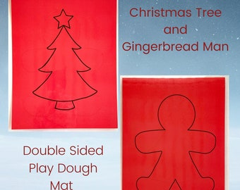 Christmas Tree and Gingerbread Man Play Dough Mat - Double Sided - Christmas Play Dough Mat - Play Dough Mat