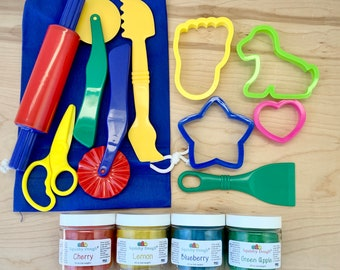 Play Dough Kit with 4 Scented Doughs and Playdough Tools - Homemade Scented Playdough - Sensory Play - Play Dough Kit - Montessori Toy