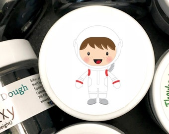 Play Dough Astronaut Party Favors - Homemade Scented Play Dough with Astronaut Labels - Space Party - Kids Party Favors - Squishy Dough