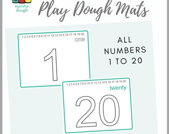 Numbers 1 to 20 Play Dough Mats Download - Squishy Dough Play Mat - Instant Download