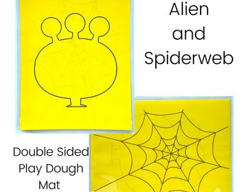 Alien Head and Spiderweb Play Dough Mat - Double Sided - Alien Head - Spiderweb - Play Dough Mat