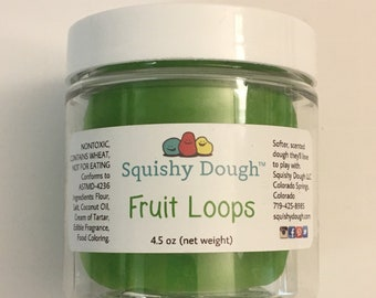 Froot Loops Scented Squishy Dough - Neon Green Play Dough - Green Putty - Aromatherapy Dough - Stress Relief Dough - Play Dough - Sensory