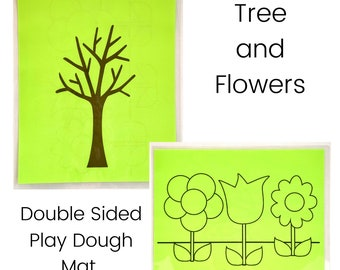 Tree and Flowers Play Dough Mat - Double Sided - Spring Play Dough Mats - Bare Tree - Flowers - Play Dough Mat