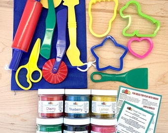 Play Dough Kit with 6 Scented Doughs and Playdough Tools - Homemade Scented Playdough - Sensory Play - Play Dough Kit - Montessori Toy