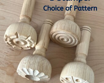 Wood Dough Stamper Choice of Pattern - Patterned Stampers for Play Dough - Wooden Play Dough Tools - Montessori - Waldorf Toys