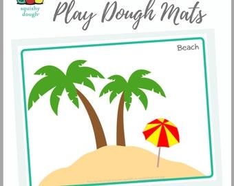 Beach Play Dough Mat Printable - Instant Download - Squishy Dough Play Mat