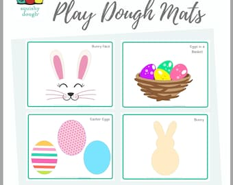 Easter Play Dough Mat Downloads - 4 Printable Easter Play doh Mats - Squishy Dough Play Mat - Instant Download - Easter
