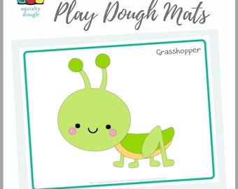 Grasshopper Play Dough Mat Printable - Instant Download - Squishy Dough Play Mat