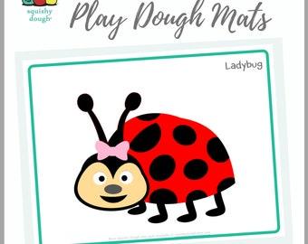 Ladybug Play Dough Mat Download - Squishy Dough Play Mat - Instant Download