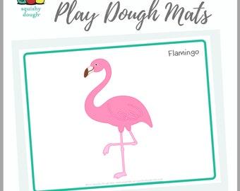 Flamingo Play Dough Mat Printable - Instant Download - Squishy Dough Play Mat