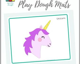 Unicorn Play Dough Mat Download - Squishy Dough Play Mat - Instant Download