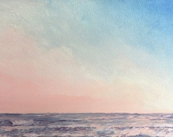 Waves at Sunset Painting