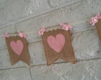 Heart Burlap Banner, Hand Painted Banner, Burlap Banner,