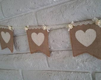 Wedding Banner, Heart Burlap Banner, Hand Painted Banner, Burlap Banner,