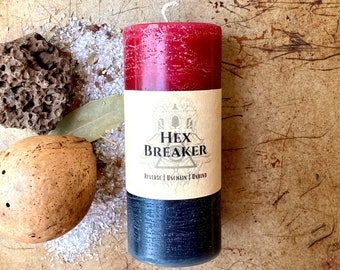 HEX BREAKER 4 Inch Reversal Spell Candle. Red Black Pillar, Double Action, Candle Magic. Reverse Curse, Protection, Remove Dark Influence.