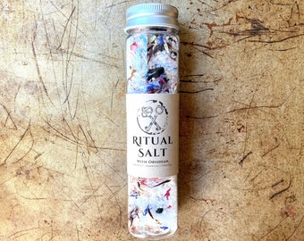 PROTECTION Ritual Salt with Obsidian. For Alchemy, Witchcraft, Spells, Altars, and Magical Intention. Spirit Barrier, Invisibility, Sacred