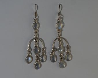 Free Shipping, Silver rainbow moonstone earrings; moonstone jewellery teardrop, set in 925 sterling silver,free shipping