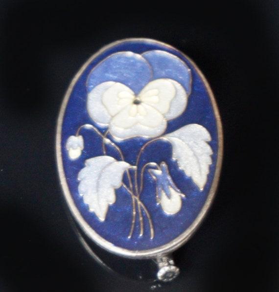 Vintage Exceptional circa 1910 Silver and Blue En… - image 1