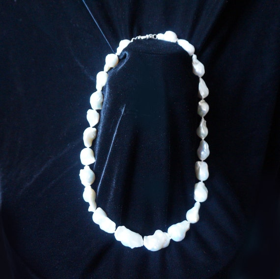 Large Freshwater Pearl Necklace and Sterling Silver Earrings
