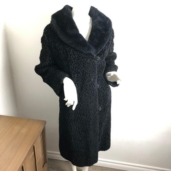 Vintage Black Astrakhan Coat Faux Fur Collar