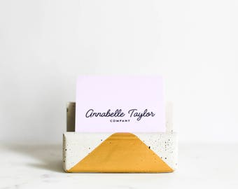 Gold business card holder etsy business card holder gold desktop organizer business card stand modern desk decor office decor concrete card stand annabelle taylor colourmoves