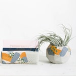 Desk Set, LIBRA, Geo Planter & Business Card Holder Set, Desk Decor Set, Succulent Pot, Concrete Card Holder, Modern Desk, Office Decor