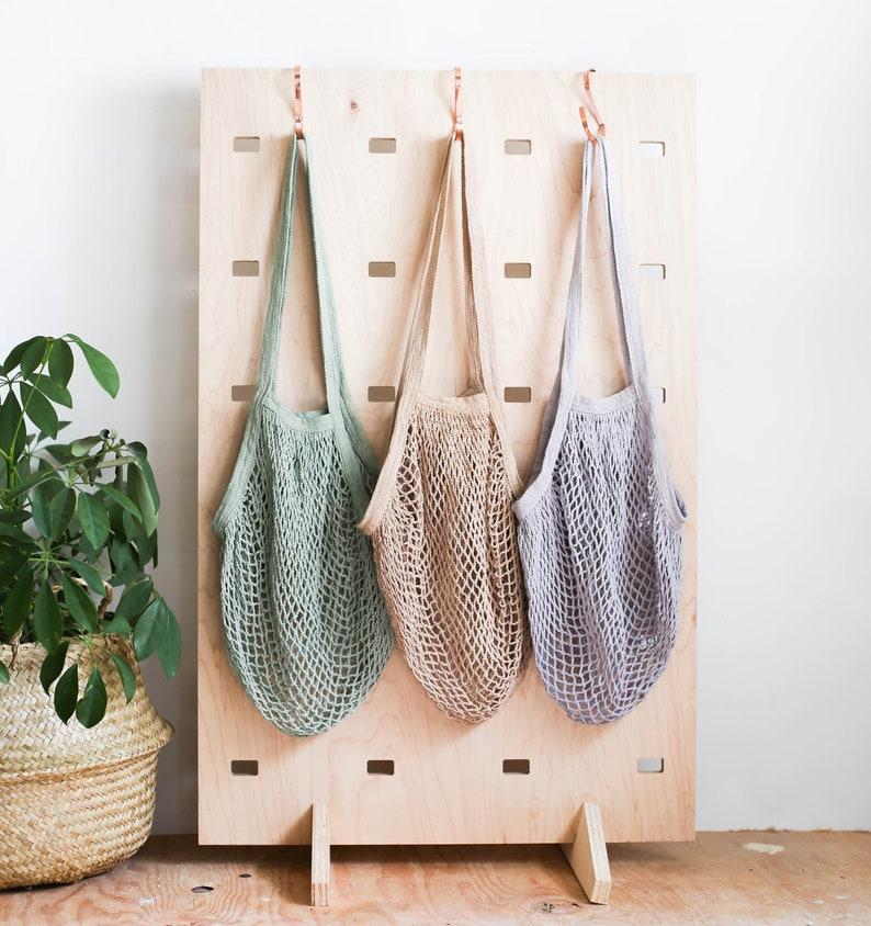Net Bag SOLID COLOR Crochet Tote Bag Bag for Produce Mesh image 0