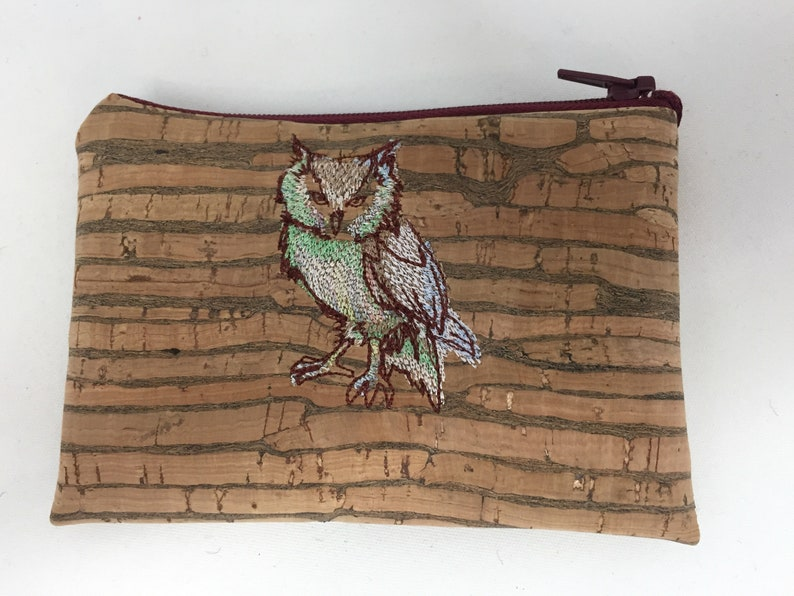poodle Portugese Cork Coin Purse floral or embroidered bird owl giraffe