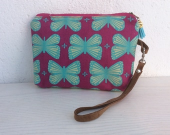 Small purse, simple clutch, turquoise, fuschia, wristlet, butterfly print, phone bag, zipped purse, gift for her, evening bag, original bag