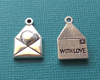 5 Love Letter Heart Envelope Charms Silver - CS2514