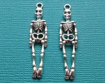 10 Skeleton Charms Pendant Silver - CS2404