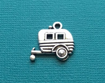 4 Camper Trailer Charms Silver Camping Trailer Charm - CS2855