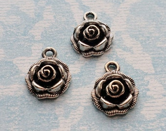 10 Rose Flower Charms Silver - CS2994
