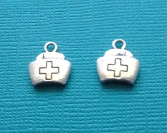 Art & Craft Supplies 8 Nurse hat cap charms antique silver tone MD9 Beads & Jewellelry Making Supplies