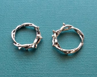 3 Crown of Thorns Charms Silver Thorn Twig Ring Charm - CS2846