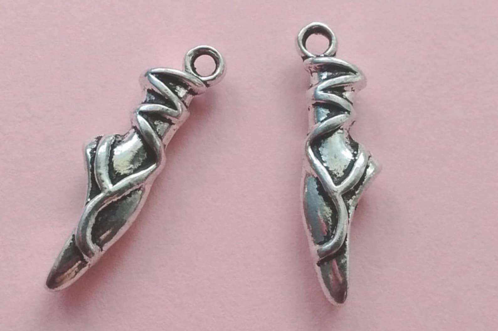 9 ballerina foot charms silver ballet shoe charm silver - cs2076
