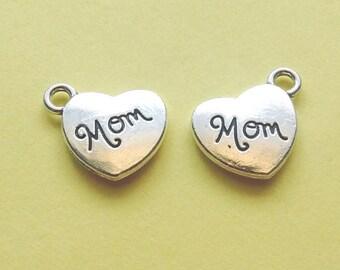 4 Heart Mom Word Charms Silver - Heart Mom Charm - CS2115