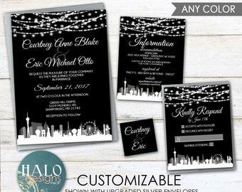 Las Vegas Wedding Invitations, Rose Gold Wedding,wedding Invitation,Las  Vegas Strip, Las Vegas Skyline, Las Vegas Wedding,wedding Card