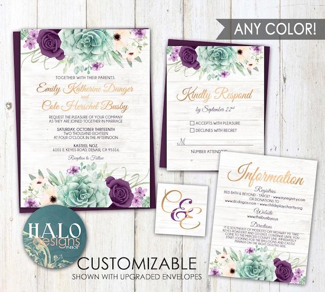 Rustic Plum Wedding Invitation Any Color Purple Succulent Wedding
