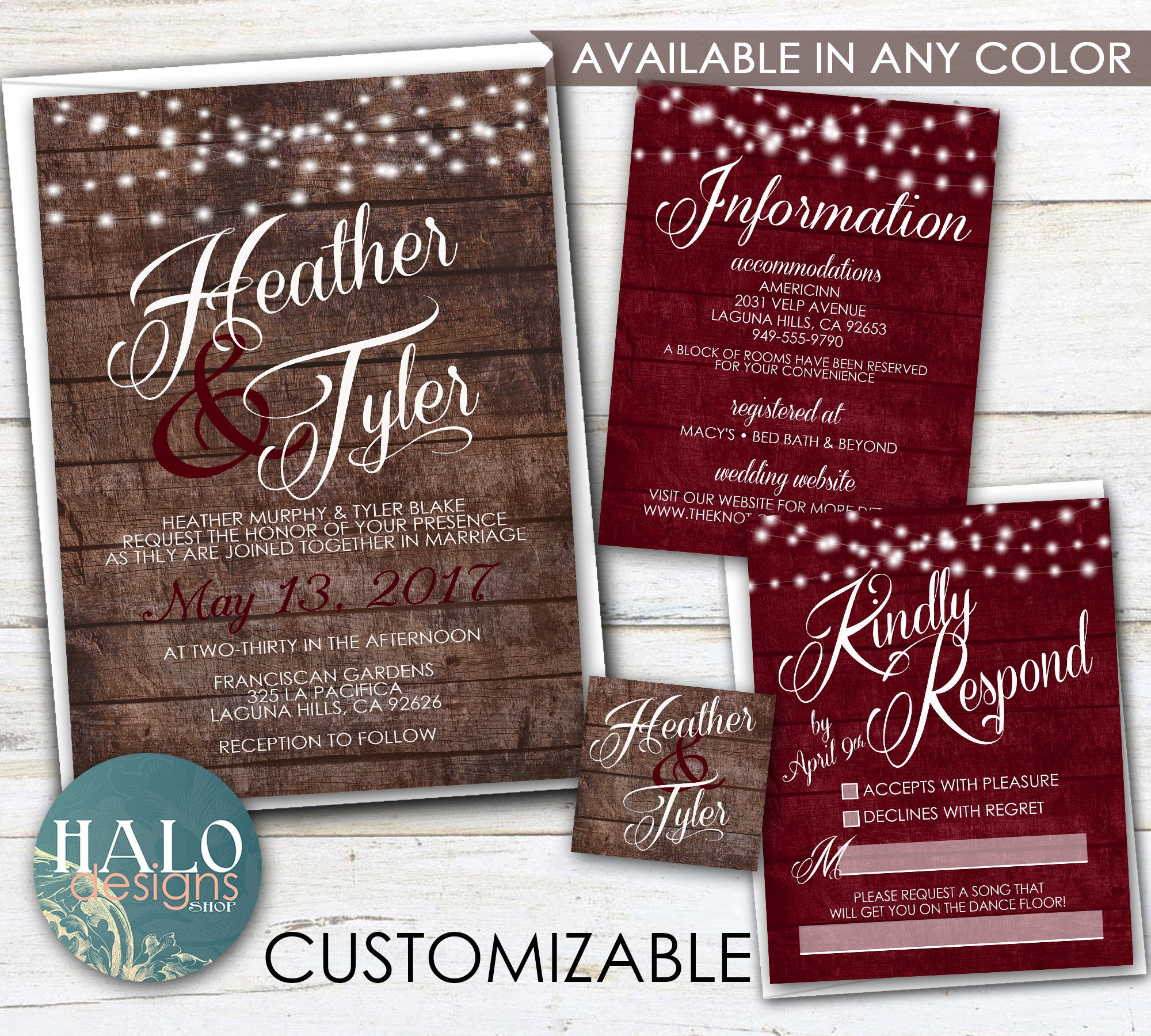 Rustic Burgundy Wedding Invitations ANY COLOR Rustic wood | Etsy