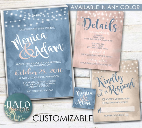 Beach Wedding Invitations Beach Wedding Invitation Water Etsy