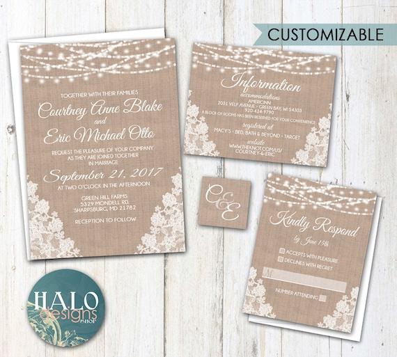 Rustic Lace Wedding Invitation Burlap