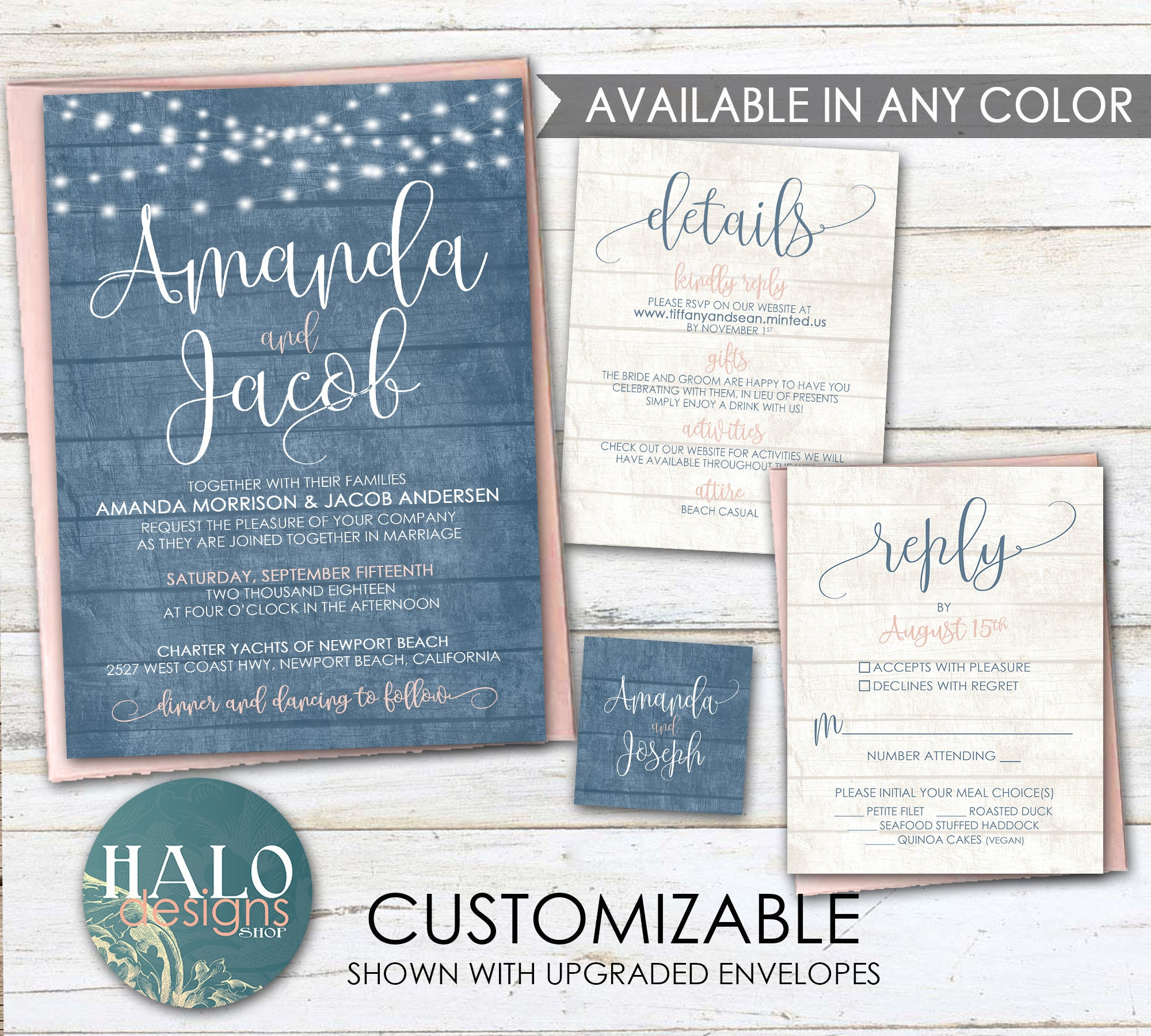 Dusty Blue Rustic Wedding Invitations ANY COLOR Steel Invite Navy Slate