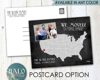 Moving Announcements - postcard, printable, chalkboard, kraft