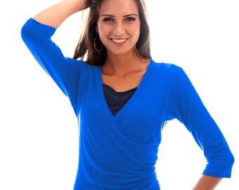 2-in-1 Maternity Nursing Top Stylish Nursing Wear for Office or Work Free Shipping Wrap Nursing Top Light Blue Breastfeeding Shirt
