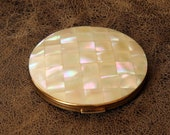 Vintage Stratton Mother of Pearl Compact - in Original Box