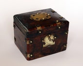 Antique Box with Brass Decorated Panels and Studs
