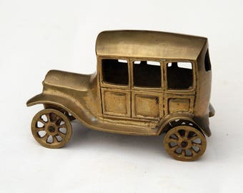 Solid Brass Model of a Vintage Car