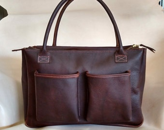 Leather Diaper Bag Tote