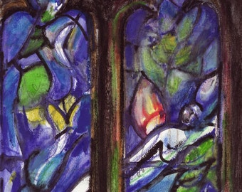 Chagall stained glass window at Tudely.  Artist Drawing in situ. Original is water pencil on paper. Limited edition digital Prints. Signed